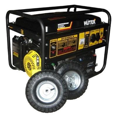 Бензиновый генератор Huter DY6500LX с колесами и аккумулятором - фото